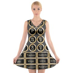 Black And Gold Buttons And Bars Depicting The Signs Of The Astrology Symbols V Neck Sleeveless Skater Dress