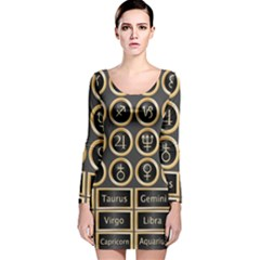 Black And Gold Buttons And Bars Depicting The Signs Of The Astrology Symbols Long Sleeve Velvet Bodycon Dress
