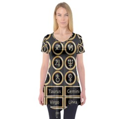 Black And Gold Buttons And Bars Depicting The Signs Of The Astrology Symbols Short Sleeve Tunic