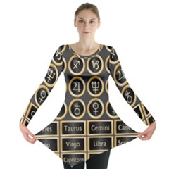Black And Gold Buttons And Bars Depicting The Signs Of The Astrology Symbols Long Sleeve Tunic