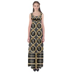 Black And Gold Buttons And Bars Depicting The Signs Of The Astrology Symbols Empire Waist Maxi Dress