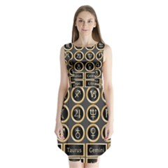 Black And Gold Buttons And Bars Depicting The Signs Of The Astrology Symbols Sleeveless Chiffon Dress