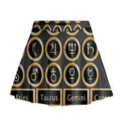 Black And Gold Buttons And Bars Depicting The Signs Of The Astrology Symbols Mini Flare Skirt