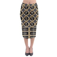 Black And Gold Buttons And Bars Depicting The Signs Of The Astrology Symbols Midi Pencil Skirt