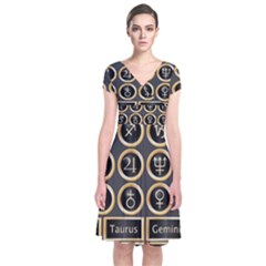 Black And Gold Buttons And Bars Depicting The Signs Of The Astrology Symbols Short Sleeve Front Wrap Dress