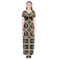 Black And Gold Buttons And Bars Depicting The Signs Of The Astrology Symbols Short Sleeve Maxi Dress