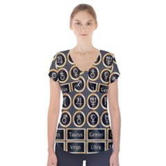 Black And Gold Buttons And Bars Depicting The Signs Of The Astrology Symbols Short Sleeve Front Detail Top