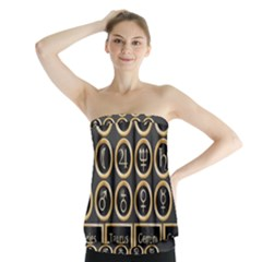 Black And Gold Buttons And Bars Depicting The Signs Of The Astrology Symbols Strapless Top