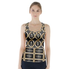 Black And Gold Buttons And Bars Depicting The Signs Of The Astrology Symbols Racer Back Sports Top