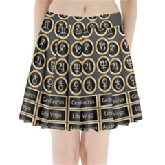 Black And Gold Buttons And Bars Depicting The Signs Of The Astrology Symbols Pleated Mini Skirt