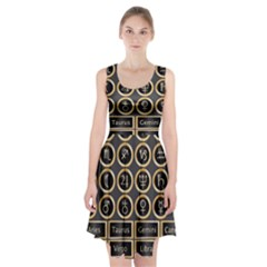 Black And Gold Buttons And Bars Depicting The Signs Of The Astrology Symbols Racerback Midi Dress