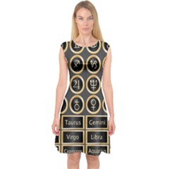 Black And Gold Buttons And Bars Depicting The Signs Of The Astrology Symbols Capsleeve Midi Dress