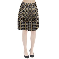 Black And Gold Buttons And Bars Depicting The Signs Of The Astrology Symbols Pleated Skirt