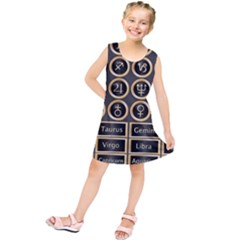 Black And Gold Buttons And Bars Depicting The Signs Of The Astrology Symbols Kids  Tunic Dress