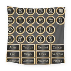 Black And Gold Buttons And Bars Depicting The Signs Of The Astrology Symbols Square Tapestry (large)