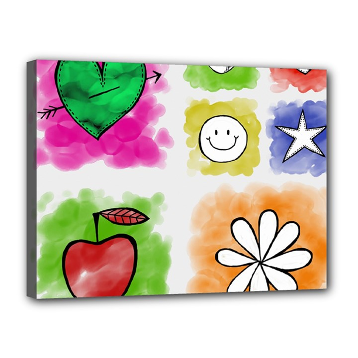 A Set Of Watercolour Icons Canvas 16  x 12