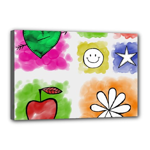 A Set Of Watercolour Icons Canvas 18  X 12