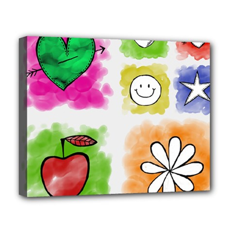 A Set Of Watercolour Icons Deluxe Canvas 20  X 16