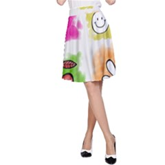 A Set Of Watercolour Icons A-Line Skirt