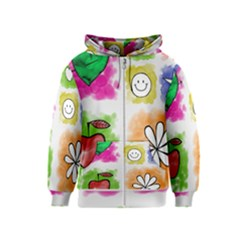 A Set Of Watercolour Icons Kids  Zipper Hoodie