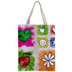 A Set Of Watercolour Icons Zipper Classic Tote Bag