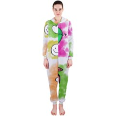 A Set Of Watercolour Icons Hooded Jumpsuit (Ladies)