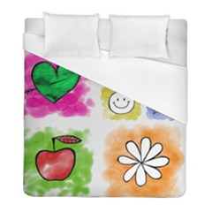 A Set Of Watercolour Icons Duvet Cover (full/ Double Size)