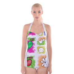 A Set Of Watercolour Icons Boyleg Halter Swimsuit