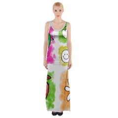 A Set Of Watercolour Icons Maxi Thigh Split Dress