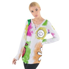 A Set Of Watercolour Icons Women s Tie Up Tee