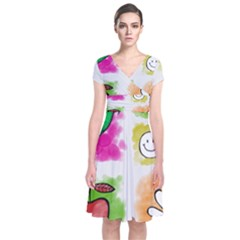 A Set Of Watercolour Icons Short Sleeve Front Wrap Dress