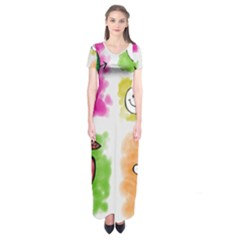 A Set Of Watercolour Icons Short Sleeve Maxi Dress