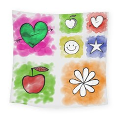 A Set Of Watercolour Icons Square Tapestry (large)
