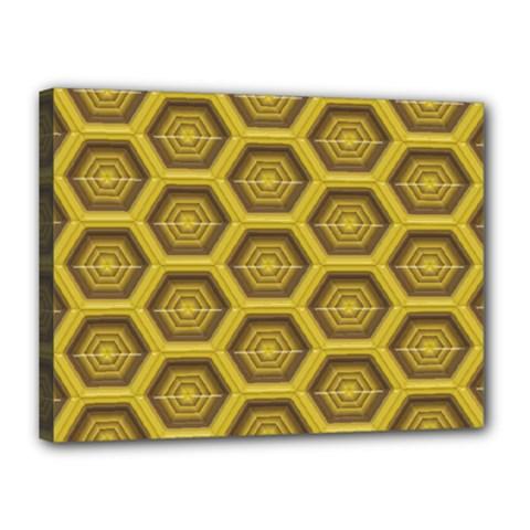 Golden 3d Hexagon Background Canvas 16  X 12