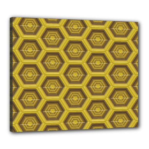 Golden 3d Hexagon Background Canvas 24  X 20