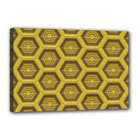 Golden 3d Hexagon Background Canvas 18  X 12