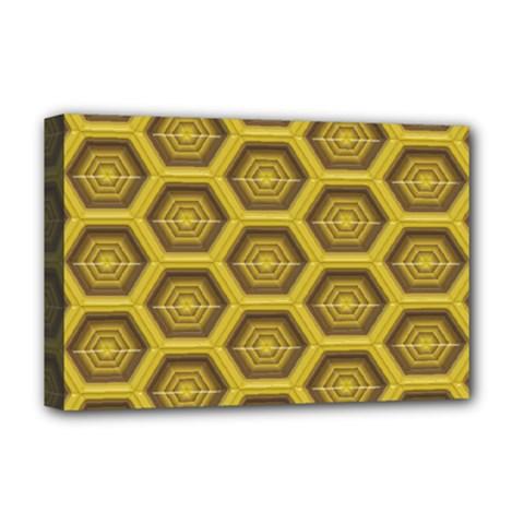 Golden 3d Hexagon Background Deluxe Canvas 18  X 12