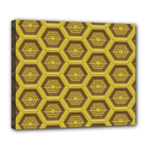 Golden 3d Hexagon Background Deluxe Canvas 24  X 20