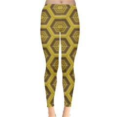 Golden 3d Hexagon Background Leggings