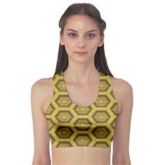 Golden 3d Hexagon Background Sports Bra