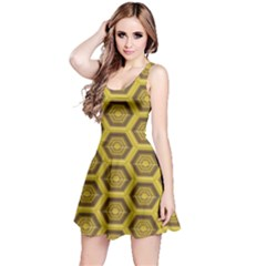 Golden 3d Hexagon Background Reversible Sleeveless Dress