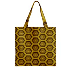 Golden 3d Hexagon Background Grocery Tote Bag
