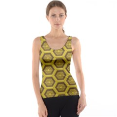 Golden 3d Hexagon Background Tank Top