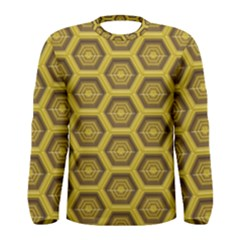 Golden 3d Hexagon Background Men s Long Sleeve Tee
