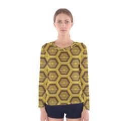 Golden 3d Hexagon Background Women s Long Sleeve Tee