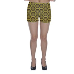Golden 3d Hexagon Background Skinny Shorts