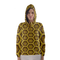 Golden 3d Hexagon Background Hooded Wind Breaker (women)
