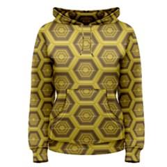 Golden 3d Hexagon Background Women s Pullover Hoodie