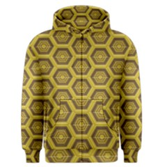Golden 3d Hexagon Background Men s Zipper Hoodie
