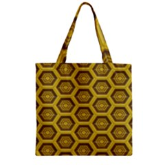 Golden 3d Hexagon Background Zipper Grocery Tote Bag